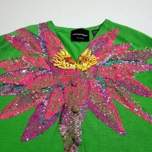 Micheal Simon Vintage Pink Sequin Flower Cardigan